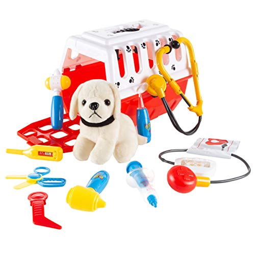 Pets Complete Set - Kids Veterinary Set-11Piece Complete Toy Set-Pretend Play Set with Animal Medical Supplies, Plush Dog, & Carrier for Boys & Girls by Hey! Play!