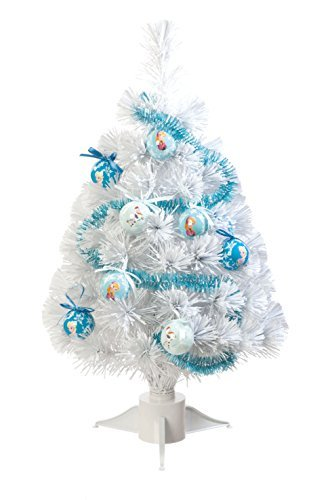Disney Frozen 60 cm Fibre Optic Tree with Tinsel and Baubles, White by Disney Frozen