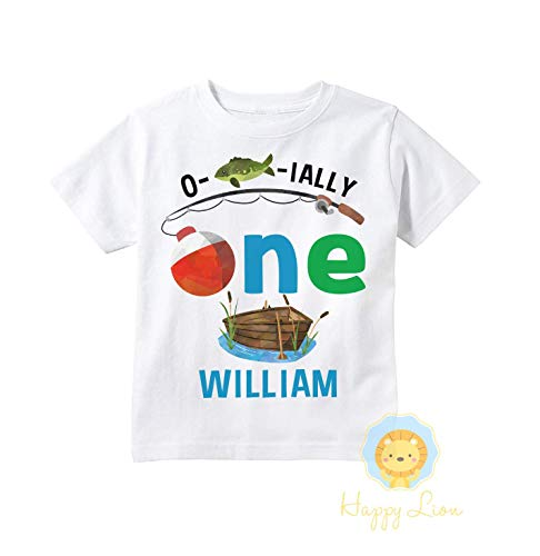 Happy Lion Clothing - Personalized First 1st Birthday Fishing Theme shirt for boys, Ofishally One Birthday outfit ()