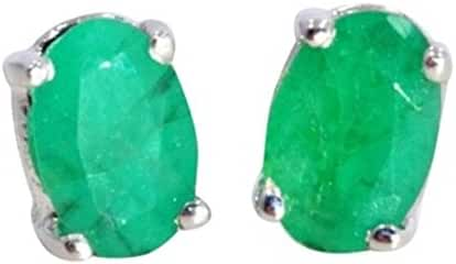 1 Carat Genuine Emerald Oval Stud Earrings .925 Sterling Silver Rhodium Finish
