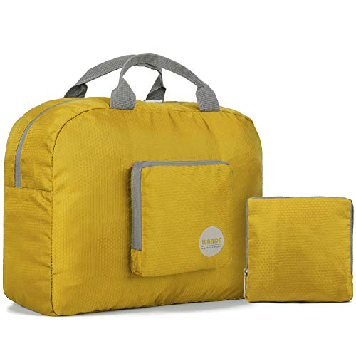 16″ Foldable Duffle Bag 20L for Travel Gym Sports Lightweight Luggage Duffel, Yellow