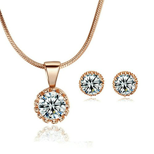 Yoursfs Dainty Women 18K Rose GP Jewelry Sets Round CZ Pendant Necklace & Stud Earrings Sets Wedding Solitaire Jewelry for - Rose Gp