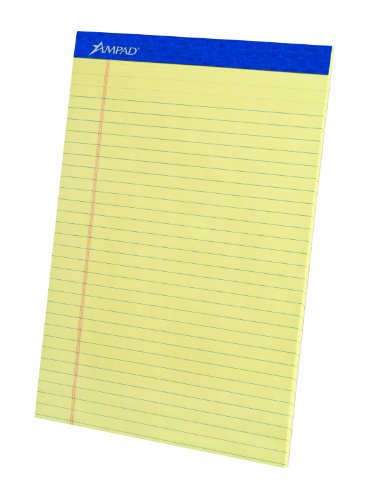 Ampad 00057 Evidence Perforated Pads, Canary, Legal Ruled. 50 Sheets Per Pad, 3 Pads Per Pack