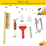 7Pcs Beekeeping Supplies Kit, Durable Beekeeping Equipment Set Complete Bee Hive Beekeeper Tool with Bee Brush Queen Marking Cage Uncapping Fork Queen Catcher Hive Frame Holder Spur Wire Wheel Embeddi