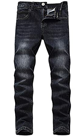 GUNLIRE Boy's Black Skinny Fit Fashion Comfy Washed Stretch Denim Jeans Pants for Kids,Black,10
