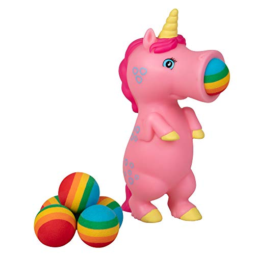 Hog Wild Pink Unicorn Popper Toy - Shoot Foam Balls Up to 20 Feet - 6 Rainbow Balls Included - Age 4+