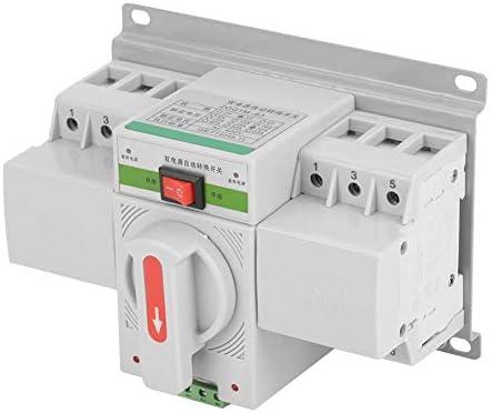 トランスファースイッチ1ピース220ボルト63A 3Pミニインテリジェントデュアル電源自動トランスファースイッチ回路ブレーカー