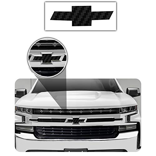 Bogar Tech Designs - Pre Cut Emblem Bowtie Overlay Vinyl Decal Compatible with Chevy Silverado 2019, 3D Carbon Fiber Black