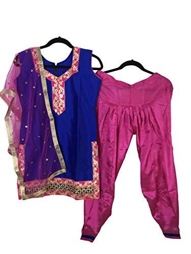 (Girls Punjabi Salwar Suit Indian Wedding/Party Wear/Sangeet Dress (Size 34 fits 10 Year Old))