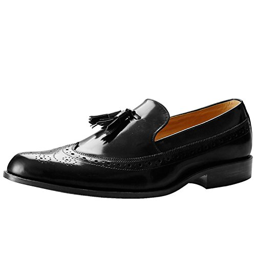 Itailor Mens Tofs Brogue Loafers Svart