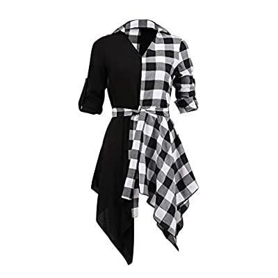 Women Plaid Patchwork Shirt Irregular Hem Loose Dress V Neck Roll Up Sleeve Mini Dresses with Belt