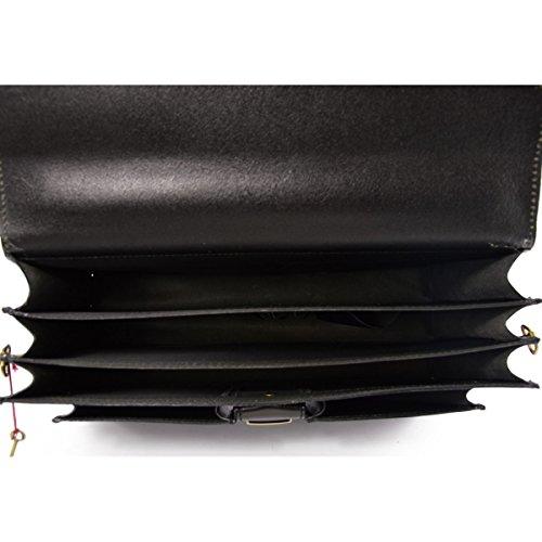 Maletín Profesional En Piel Verdadera 3 Compartimentos Y 2 Bolsillos Color Negro - Peleteria Echa En Italia - Business
