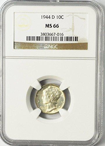 1944 D Mercury Dime 90% Silver 10c MS66 NGC