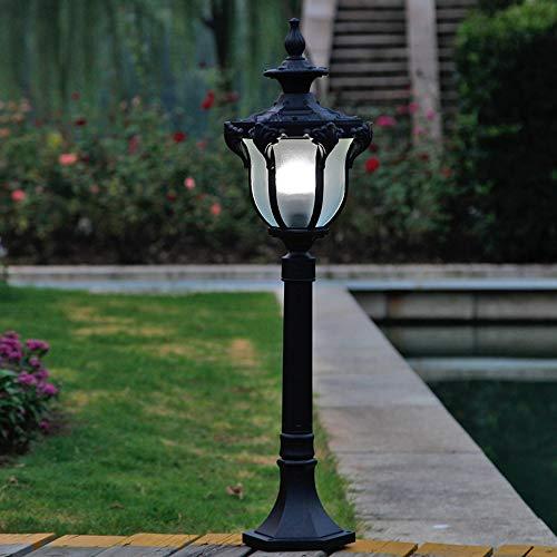 (Pumnple Traditional Outdoor Post Light Black Cast Aluminum Column Pillar Lamp Victoria Exterior Garden Yard Driveway Waterproof Street Lighting Fixture E27 Decor 1-Light (Size : High 0.8m))