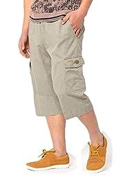 Men's Plus Size Casual Cropped Pants Shorts Beach Cotton Fat Man Loose Trousers