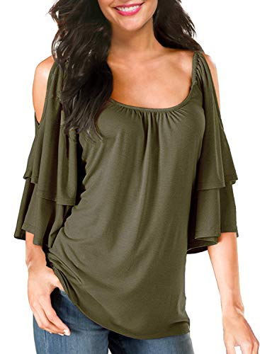 (Ellies Women's Summer Cold Shoulder Ruffle Sleeve Loose Stretch Tops Tunic Blouse Shirt)