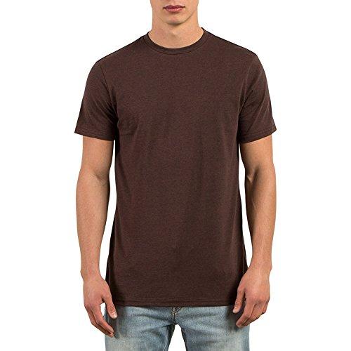 Volcom Men's Solid Modern Fit Short Sleeve Shirt, Plum Heather, L