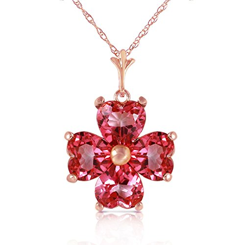 Pink Topaz Cluster - ALARRI 3.8 Carat 14K Solid Rose Gold Heart Cluster Pink Topaz Necklace with 24 Inch Chain Length