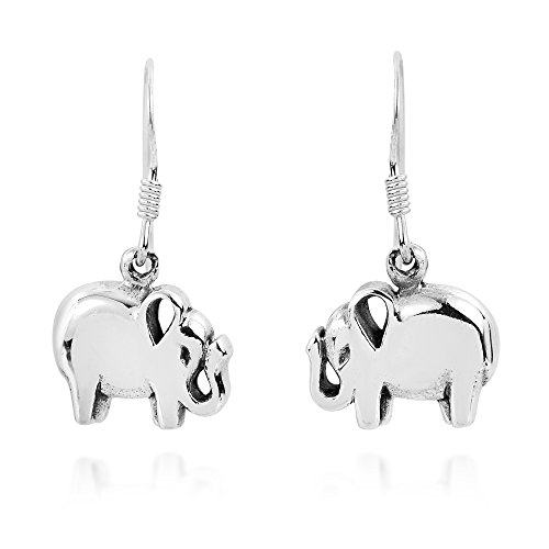 Elephant Charming (Charming Lucky Thai Elephant .925 Sterling Silver Dangle Earrings)