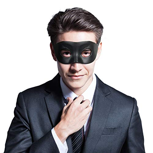 Men's Black Venetian Mardi Gras Masquerade Mask Faux Leather Halloween Costume Fancy Decorative Half Mask