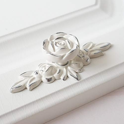 Flower Knob Backplate - LBFEEL Flower Dresser Handles Back Plate Drawer Knobs Pulls Handles Creamy White Silver Rose knob Shabby Chic Kitchen Cabinet Knobs Handles (Largest Backplate)