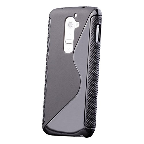 LG G2 | iCues S-Line Case Black | [Screen Protector Included] Shockproof Slim Heavy Duty Soft Rubber Cover TPU Silicone Shell (Phone Lg G2 Unique Case)