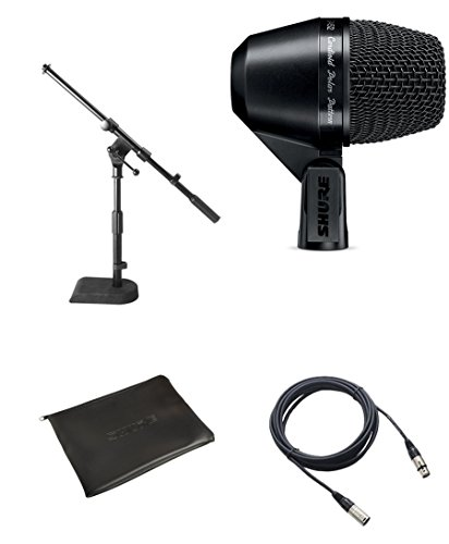 Shure PGA52 Kick Drum Microphone Bundle with XLR Cable and Drum Mic -