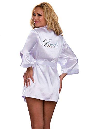 Plus Size Bridal Lingerie Set - White Robe & Padded Hanger - (Plus Size Bridal)