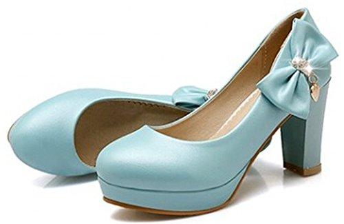 Blue Sandal Pendant (IDIFU Women's Sweet Bow Pendant High Chunky Heels Slip On Pumps Platform Low Top Sandals Blue 8 B(M) US)