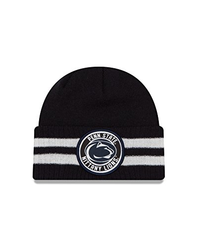 Ncaa New Era - New Era NCAA Penn State Nittany Lions 2 Striped Remix Cuff Knit Beanie, Navy, One Size