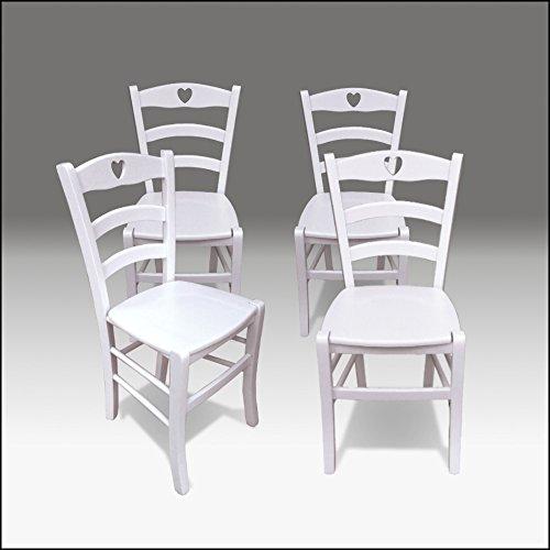 Sedia in legno, bianca, Stile Shabby Chic, Modello Cuore | Sedie
