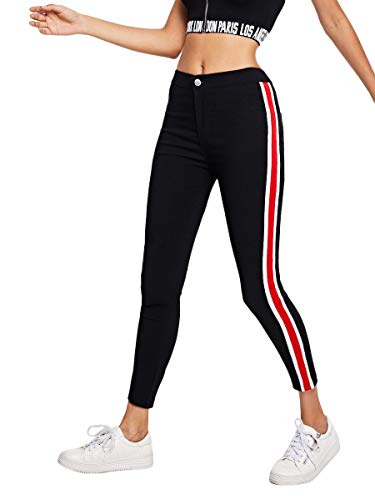 SweatyRocks Women's High Waist Zip up Jeans Super Stretch Stripe Side Leggings Denim Pants Black#1 ()
