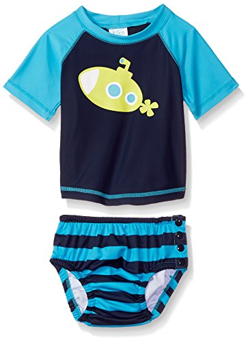 KIKO & MAX Baby Boys Rashguard and Diaper Cover Swim Set, Navy Submarine, L (Submarine Bathing Suits)