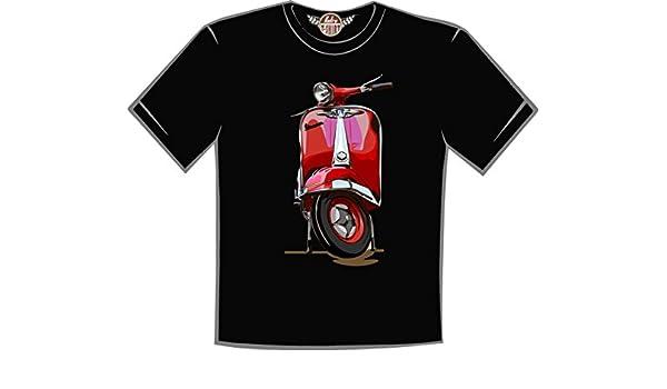 Retro t shirt Camiseta Vespa roja: Amazon.es: Ropa y accesorios