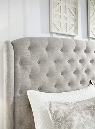 Signature Design By Ashley Jerary King Upholstered Tufted Wingback Bed Frame, Gray 41CTFFDqCPL