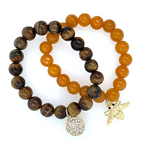 Jewelry Made By Me 2pc Handmade Stretch 8mm Stone Bead 7in Bracelets, Medallion + Bee (Medallion Stretch)