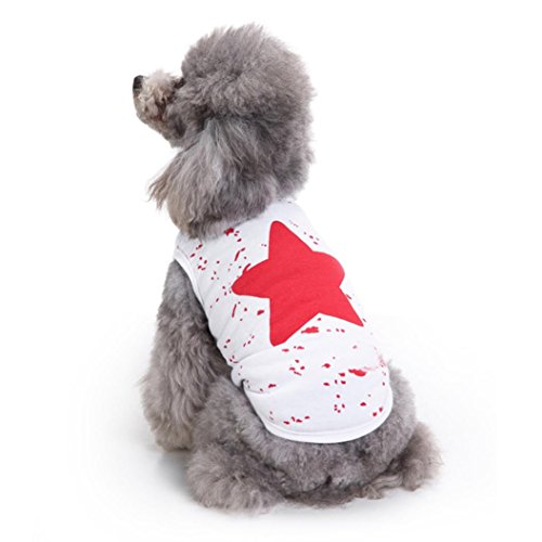 Nesee Summer Pet Dog Puppy Classic Vest T-shirt Dog Clothes Vest Apparel Clothes (Red, M)