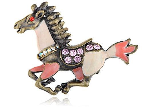 Alilang Womens Gunmetal Tone Antique Pink Peach Horse Stallion Brooch Pin (Ladies Top Gun Costume)