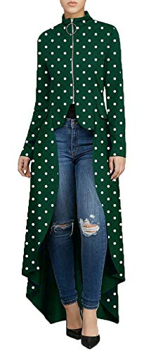 Women's Fashion High Low Tops - Unique Irregular Zipper Front Dot Print Long Sleeve Tunic Shirt Medium Army -