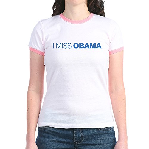CafePress I Miss Obama - Jr. Ringer T-Shirt, Slim Fit 100% Cotton Ringed Shirt Obama Ringer