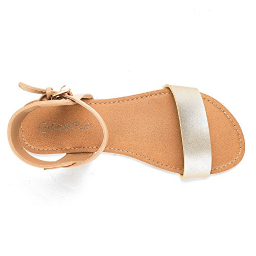 DREAM PAIRS Womens Alexa Ankle Strap Buckle Flat Sandals Alexa-gold Nude leHWwN