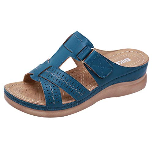 Dasuy 2019 New Women Platform Wedges Sandals with Arch Support Soft Leather Comfortable Flat Slippers Flip Flops Shoes (US:5.5, Blue)