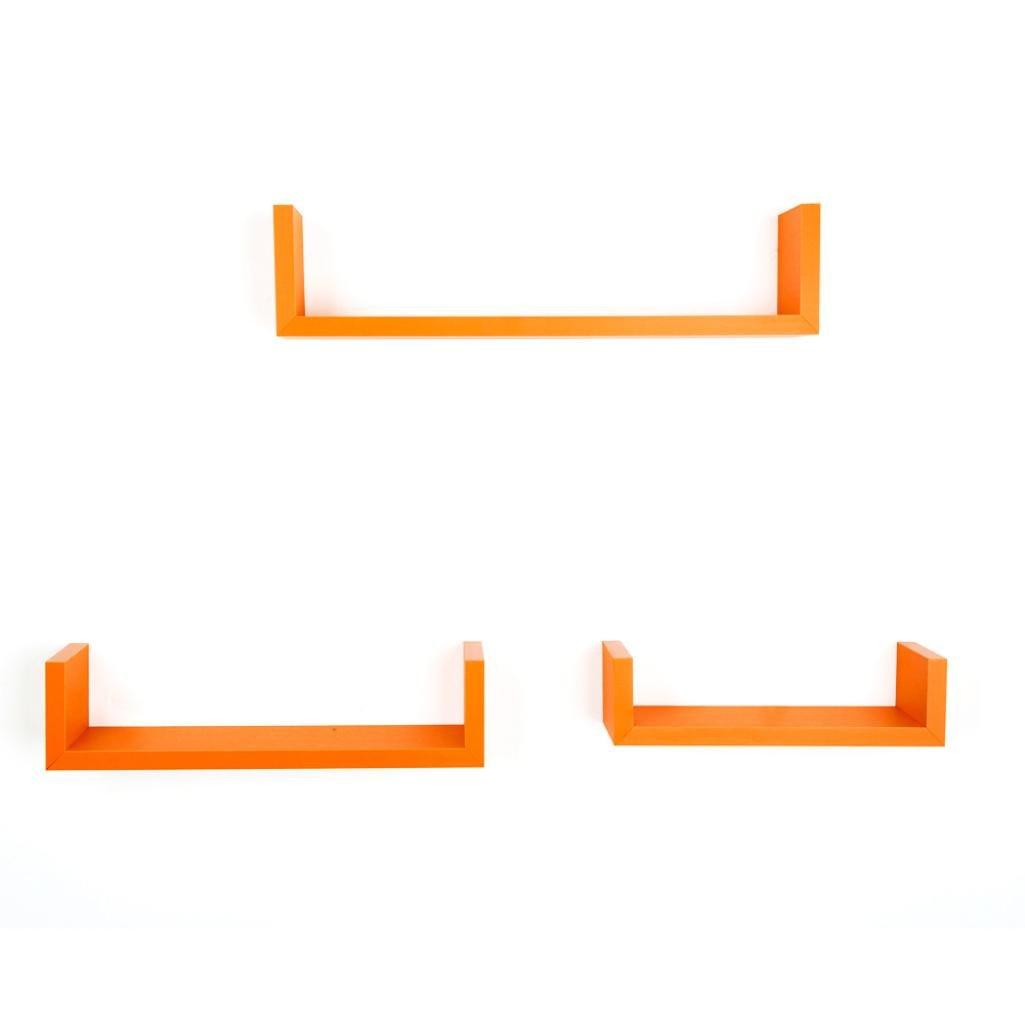 Floating U Shelves,WYTong 3 Sets Nesting U Floating Shelves Shelf for Walnut Finish ,Living room, Dining room, Bedroom, Office, Hotel (Orange)