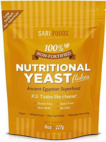 Pure Natural Non-fortified Nutritional Yeast Flakes (8 oz.) Whole Food Based Protein Powder, Vitamin B Complex, Beta-glucans and all 18 Amino Acids (Best Nutritional Yeast Brand)
