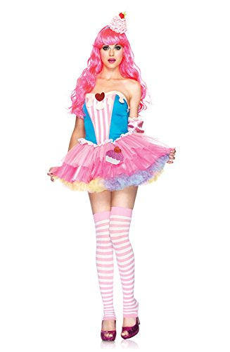 Leg Avenue 3 Piece Sugar And Spice Cupcake Dress With Arm Puffs And Frosting Headband, Blue/Pink, (Headband Cupcake Frosting)