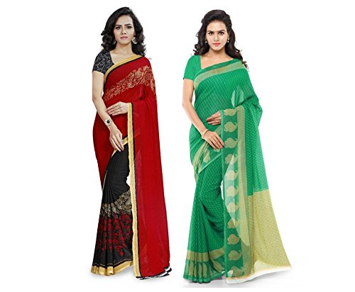 4012aa97650 Anand Sarees Women s Faux Georgette Multi Color Printed Pack Of 2 Saree  With Blouse Piece (1190 3 1168 4)  Amazon.in  Clothing   Accessories