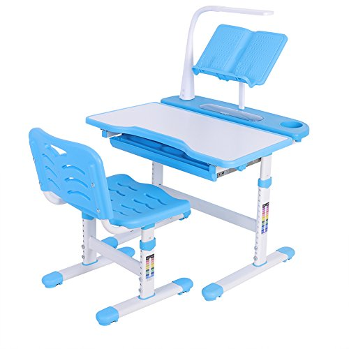 Yosoo Children Desk & Chair Sets, Adjustable Height Kids Multifunctional Desk and Chair Set with Lamp, Storage Bookstand Kids Study Table for Boys Girls-Blue