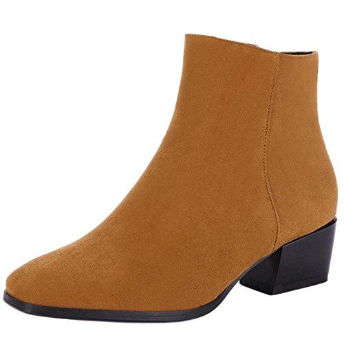 RAZAMAZA Women Western Inside Zipper Stacked Heel Ankle Booties Yellow 8HDJK
