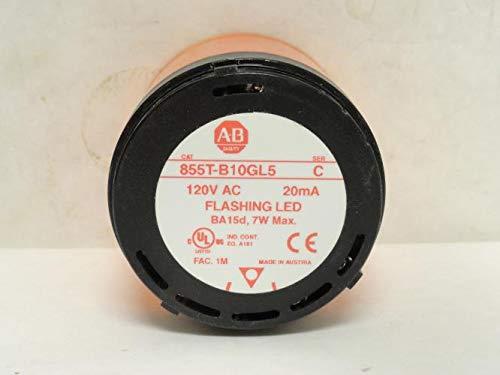 ALLEN BRADLEY 855T-B10GL5 STACK LIGHT FLASHING LED 120V AMBER LENS