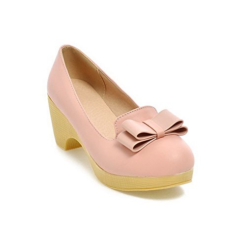 Amoonyfashion Femmes Pull-on Rond Fermé Orteils Chaton-talons Pu Solides Pompes-chaussures Rose